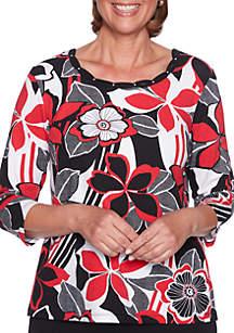 Sutton Place Graphic Floral Knit Top