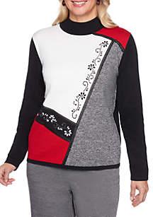 Sutton Place Asymmetrical Colorblock Sweater