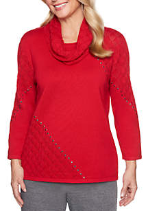 Sutton Place Pointelle Sweater With Scarf