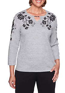 Sutton Place Floral Beaded Sweater