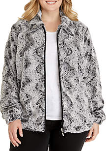 Plus Size Fur Jacket