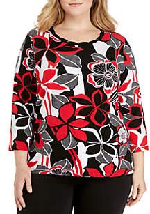 Plus Size Floral Print Top