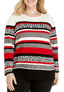 Plus Size Mixed Print Sweater