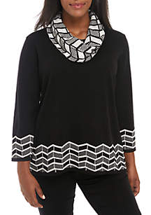 Plus Size Chevron Print Sweater with Scarf