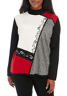 Plus Size Asymmetrical Colorblock Sweater