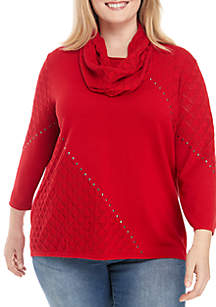 Plus Size Pointelle Sweater with Scarf