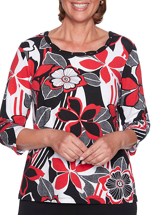 Alfred Dunner Petite Sutton Place Graphic Floral Knit