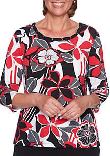 Petite Sutton Place Graphic Floral Knit Top