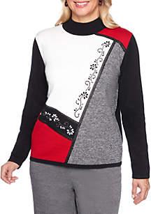 Petite Sutton Place Asymmetrical Colorblock Sweater