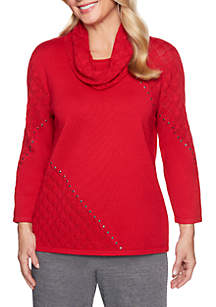 Petite Sutton Place Pointelle Sweater With Scarf