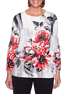 Petite Sutton Place Brush Stroke Floral Sweater