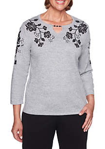 Petite Sutton Place Floral Beaded Sweater