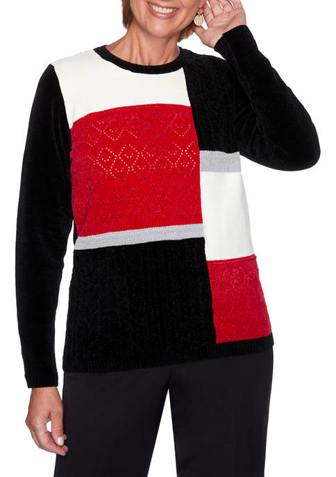 Alfred Dunner Womens Worth Avenue Chenille Colorblock Sweater