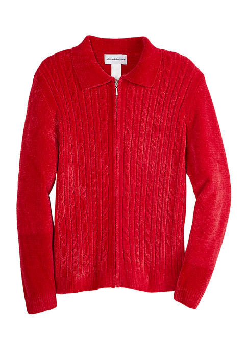 Alfred Dunner Womens Worth Avenue Chenille Cardigan Sweater