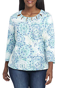 Plus Size Simply Irresistible Medallion Knit Top