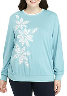 Plus Size Simple Irresistible Lace Floral Knit Top