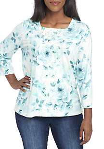 Plus Size Simply Irresistible Floral Center Lace Top