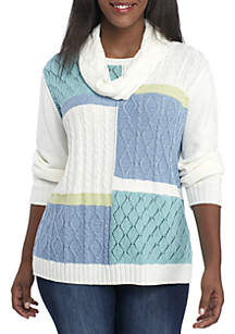 Plus Size Simply Irresistible Scarf and Colorblock Sweater