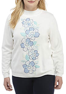 Plus Size Floral Embroidered Sweater