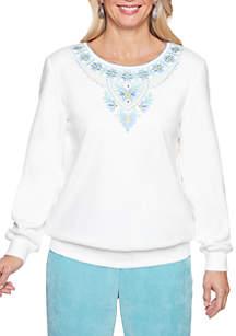 Petite Simply Irresistible Yoke Embellished Sweater