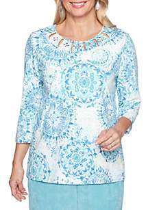 Petite Simply Irresistible Medallion Knit Top