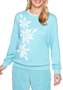 Petite Simply Irresistible Lace Floral Knit Top