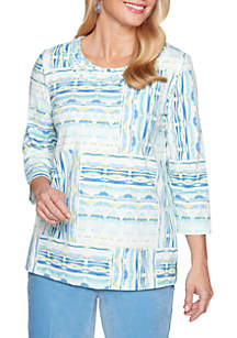 Petite Simply Irresistible Patchwork Knit Top