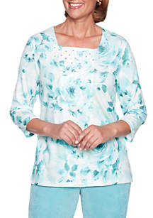 Petite Simply Irresistible Floral Center Lace Sweater
