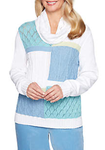 Petite Simply Irresistible Colorblock With Scarf Sweater