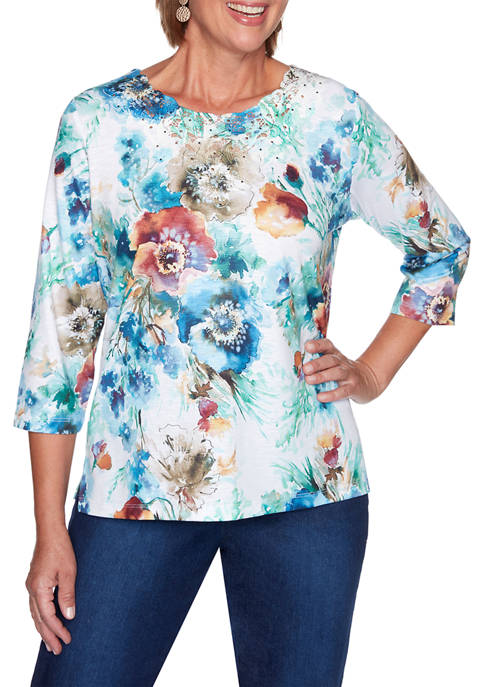 Alfred Dunner Womens Hunter Mountain Floral Print Knit