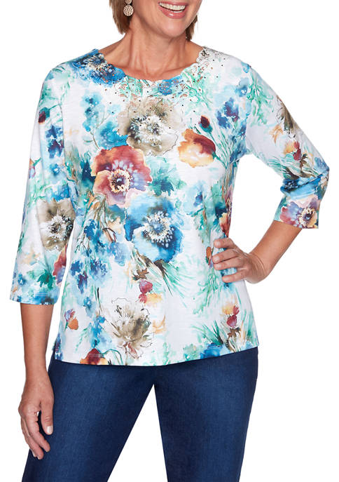 Alfred Dunner Plus Size Hunter Mountain Floral Print