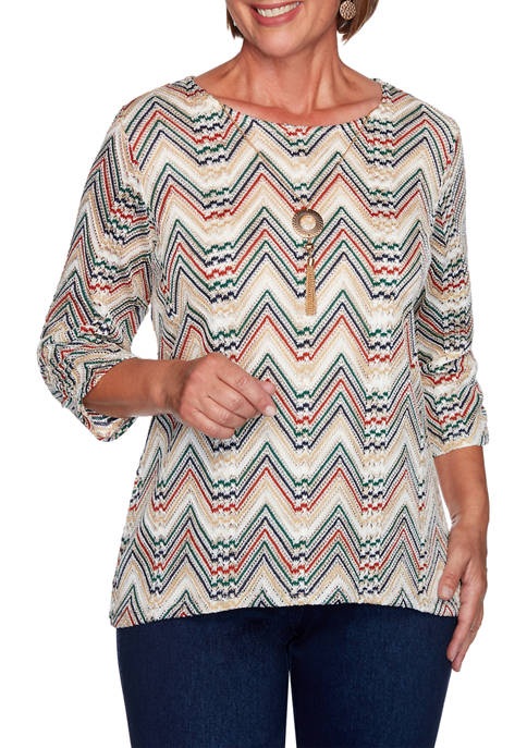 Alfred Dunner Plus Size Hunter Mountain Chevron Textured
