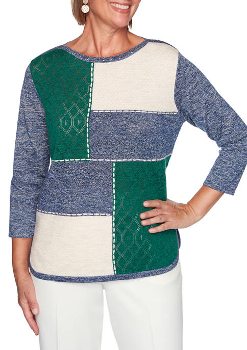Alfred Dunner Plus Size Hunter Mountain Colorblock Sweater