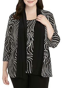Plus Size Shining Movements Abstract Swirl 2Fer Top