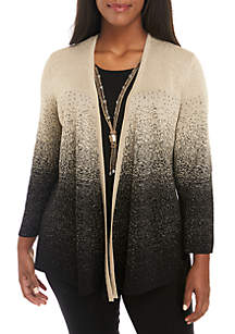 Plus Size Ombre Shimmer 2Fer Top