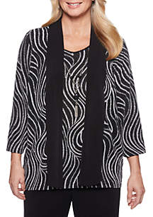 Petite Shining Moments Abstract Swirl 2Fer Top