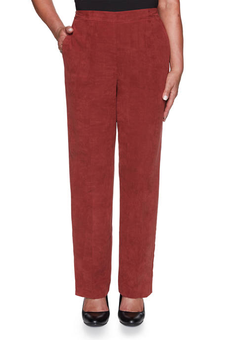 Alfred Dunner Womens Catwalk Suede Pants- Short