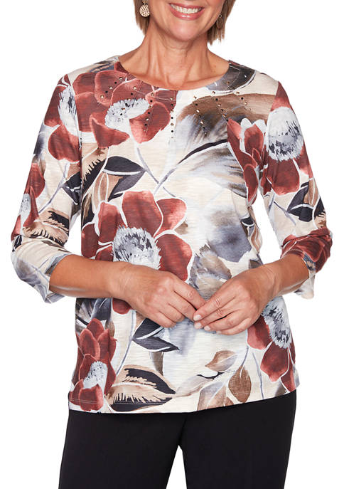 Alfred Dunner Womens Catwalk Exploded Floral Knit Top