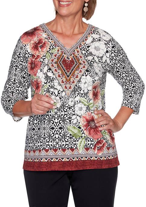 Womens Catwalk Medallion Floral Border Knit Top