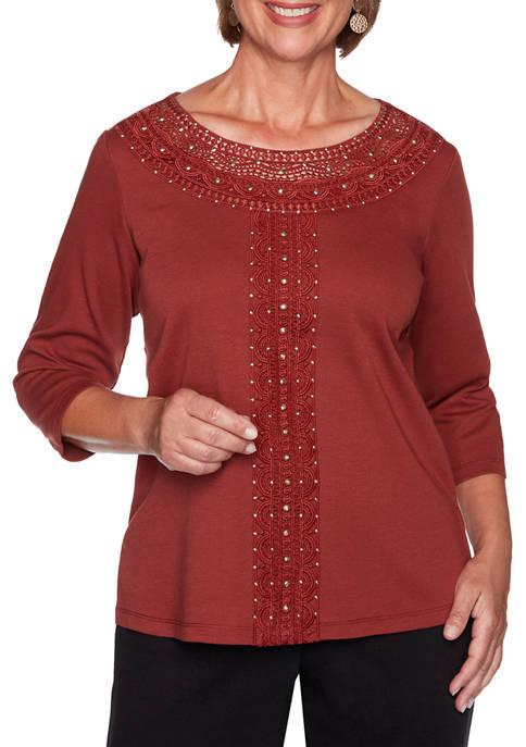 Womens Catwalk Solid Center Crochet Knit Top