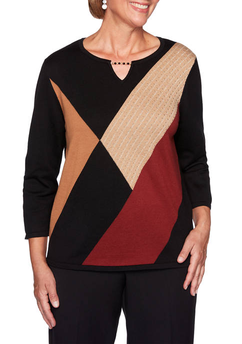 Alfred Dunner Womens Catwalk Color Block Sweater