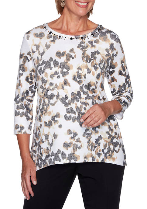 Alfred Dunner Plus Size Catwalk Animal Print Top
