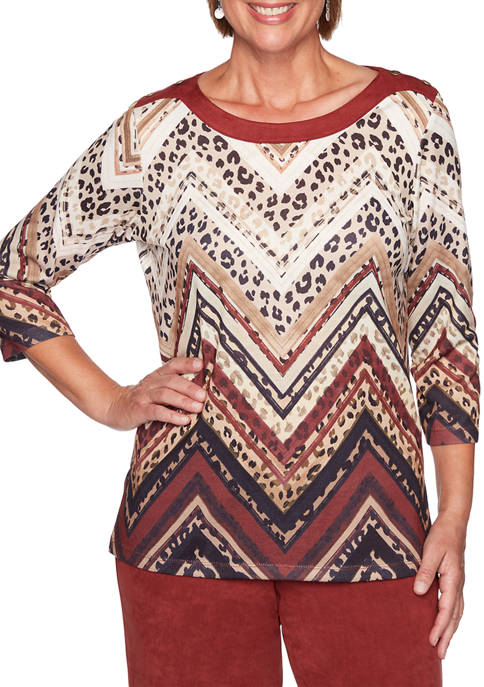 Alfred Dunner Plus Size Catwalk Skin Chevron Top