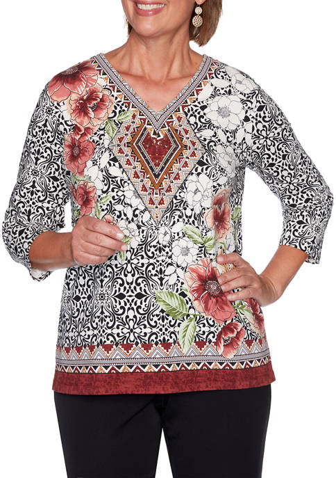 Alfred Dunner Plus Size Catwalk Medallion Floral Border