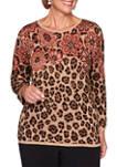 Plus Size Catwalk Floral Yoke Jacquard Sweater