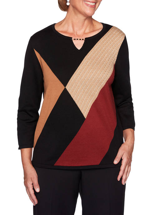 Alfred Dunner Petite Catwalk Color Block Sweater