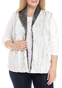 Plus Size Reversible Fur Vest