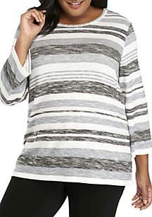 Plus Size Space Dye Striped Knit Top