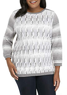 Plus Size Stocking Stuffers Space Dye Cable Sweater