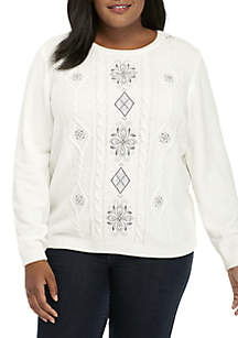 Plus Size Stocking Stuffers Chenille Embroidered Center Sweater